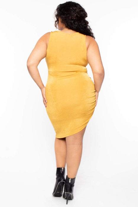Bump Biddy Maternity Plus Allie Slinky Bodycon Dress - Mustard