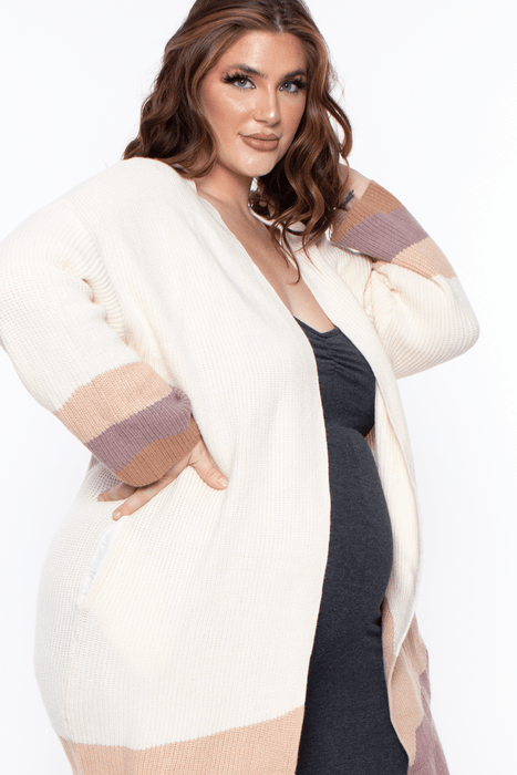 Bump Biddy Maternity Willow Open-Front Colorblock Cardigan - Vanilla