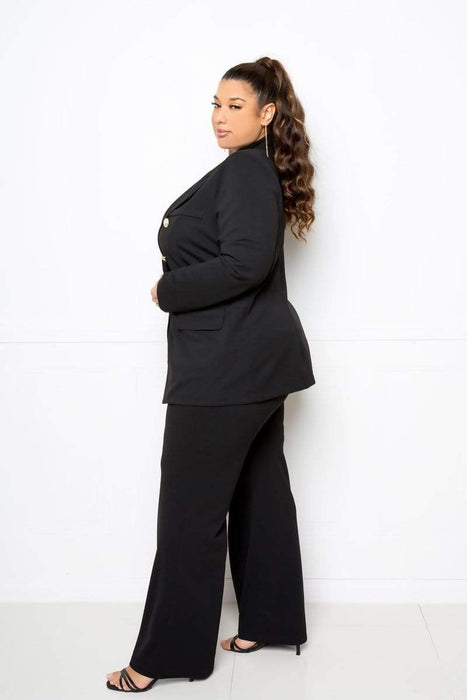 Buxom Couture Double Breasted Blazer and Wide Pants