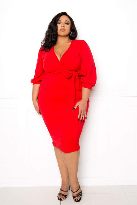 Buxom Couture Everyday Wrap Midi Dress
