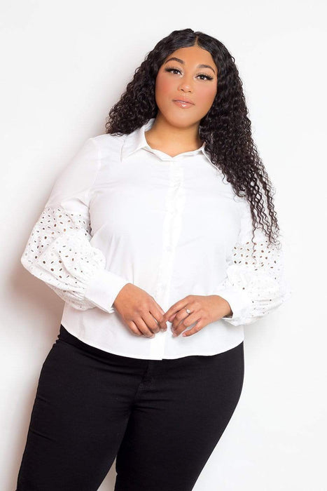 Buxom Couture Exaggerated Eyelet Sleeved Shirt