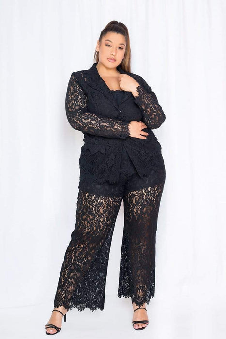Buxom Couture Lace Tailored Jacket & Pants Set