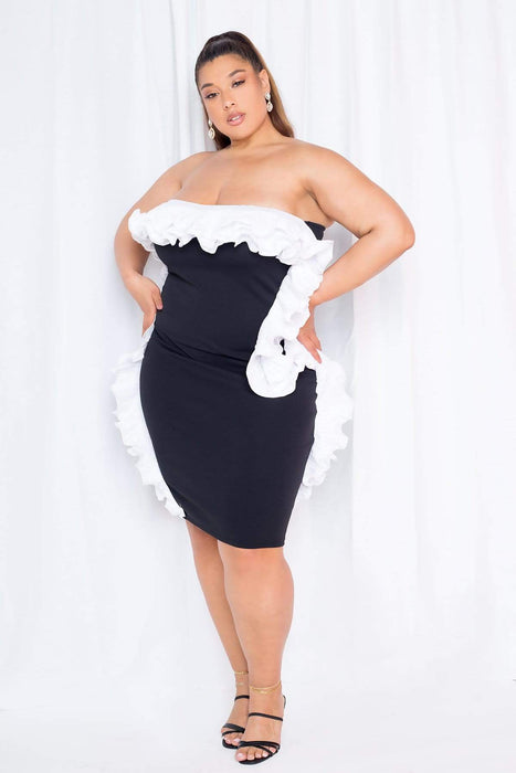 Buxom Couture Strapless Ruffle Cocktail Dress
