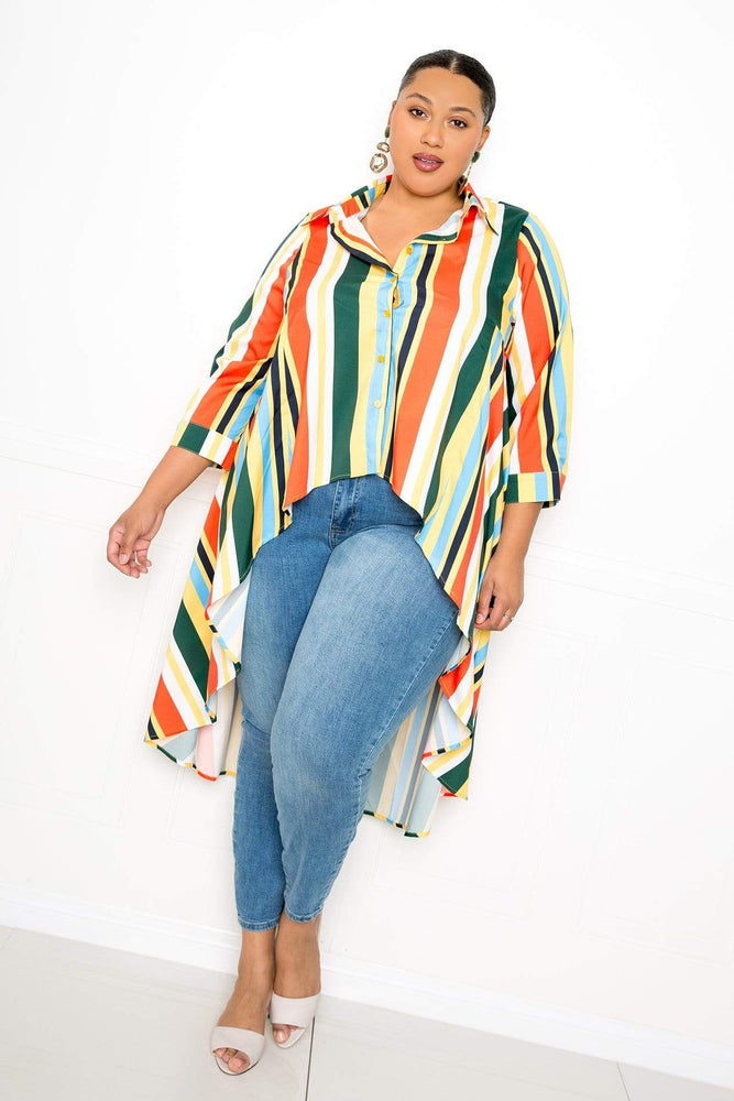 Buxom Couture Stripe Flowy Shirt