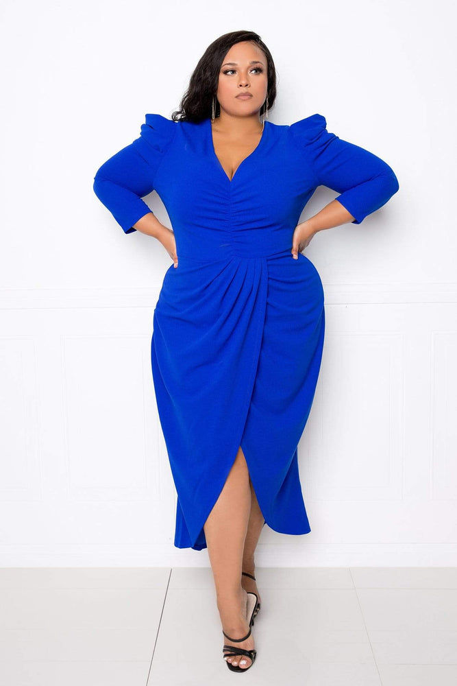 Buxom Couture Wrapped Dress with Shoulder Accent