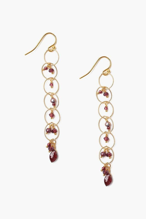 Chan Luu Garnet & Chain Drop Earrings Garnet Mix
