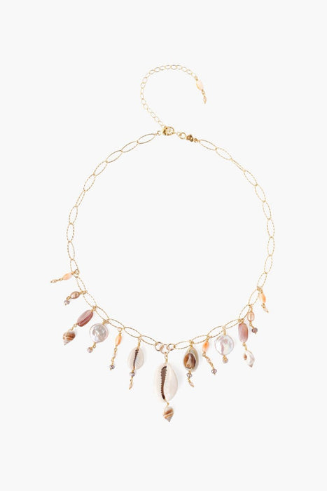 Chan Luu Pink Pearl & Shell Short Charm Necklace Pink Pearl Mix