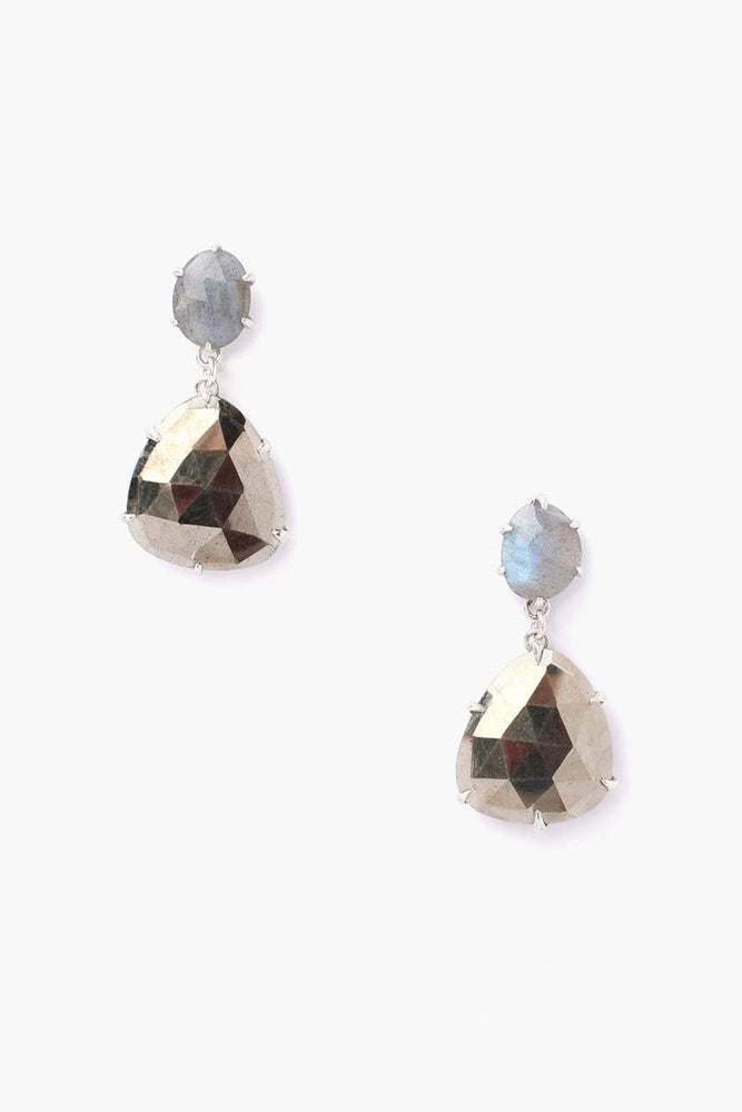 Chan Luu Pyrite Drop Post Earrings Pyrite Mix