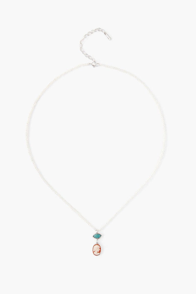 Chan Luu White Pearl Short Necklace with Vintage Cameo & Turquoise White Mix