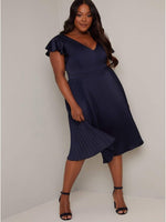 Sophisticated V-neck Satin Flutter Sleeves Below the Knee Swing-Skirt Pleated Dress