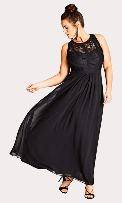 City Chic Black Lace Panelled Bodice Maxi Dress 14 / XS