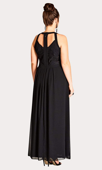 City Chic Black Lace Panelled Bodice Maxi Dress