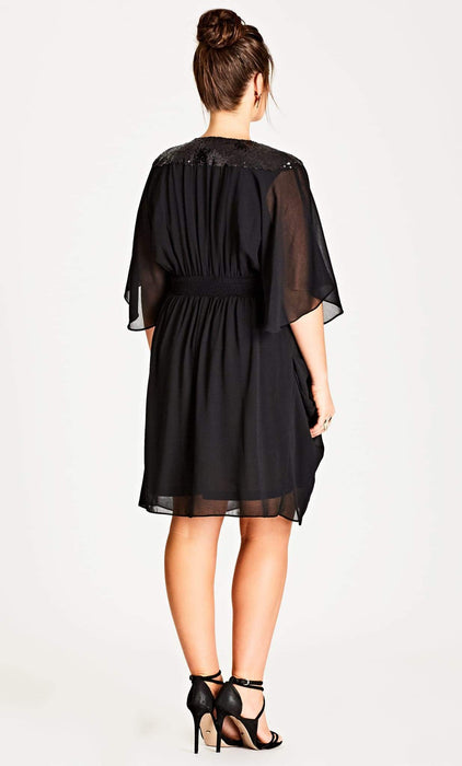 City Chic Black Sequinned Faux Wrap Dress