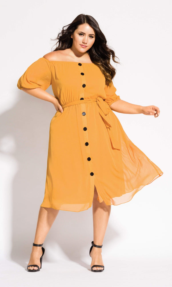 City Chic Button Through Dress - gold