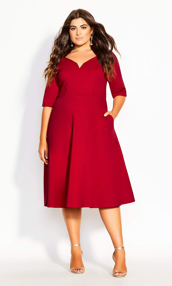 City Chic Classic Sleeve Dress - red