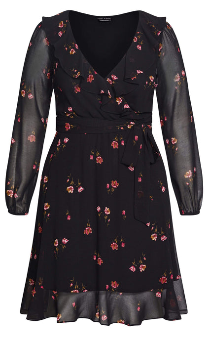 City Chic Delicate Petal Dress - black