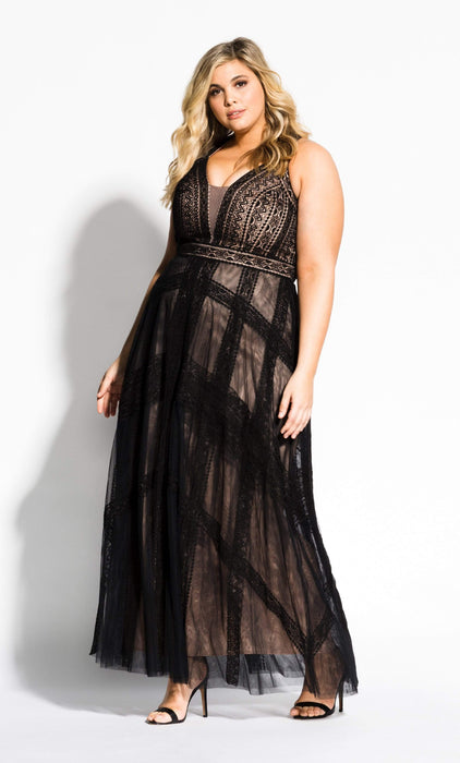 City Chic Divine Whimsy Maxi Dress - black