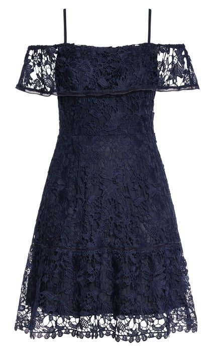 City Chic Dream Of Lace Dress - navy