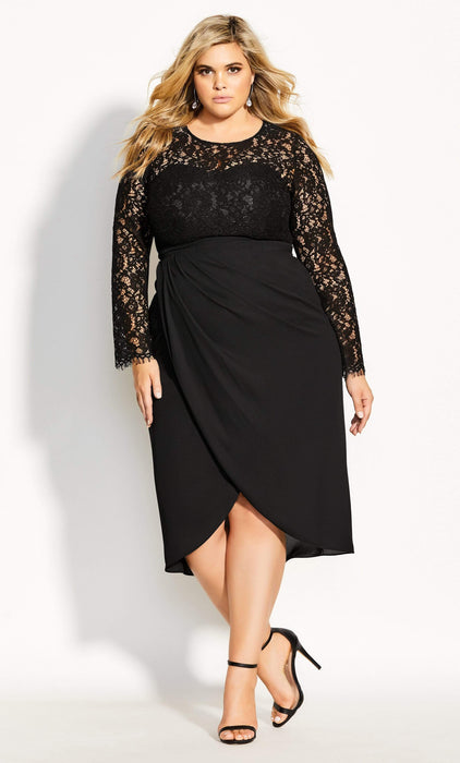 City Chic Elegant Lace Dress - black