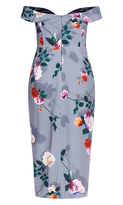 City Chic Floral Shadows Maxi Dress - mauve