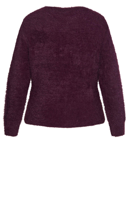 City Chic Fluffy Jumper - plum
