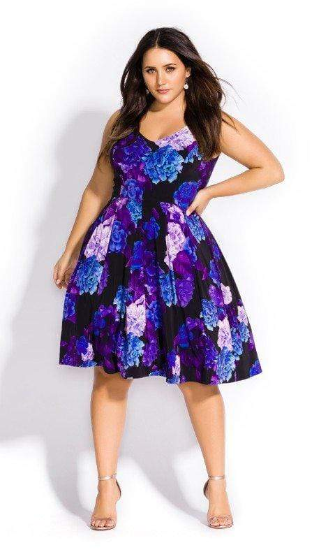 City Chic Hydrangea Printed Fit & Flare Dress 14 / XS