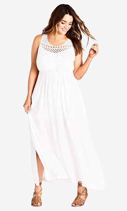 City Chic Ivory Crochet Detail Maxi Dress 14 / XS