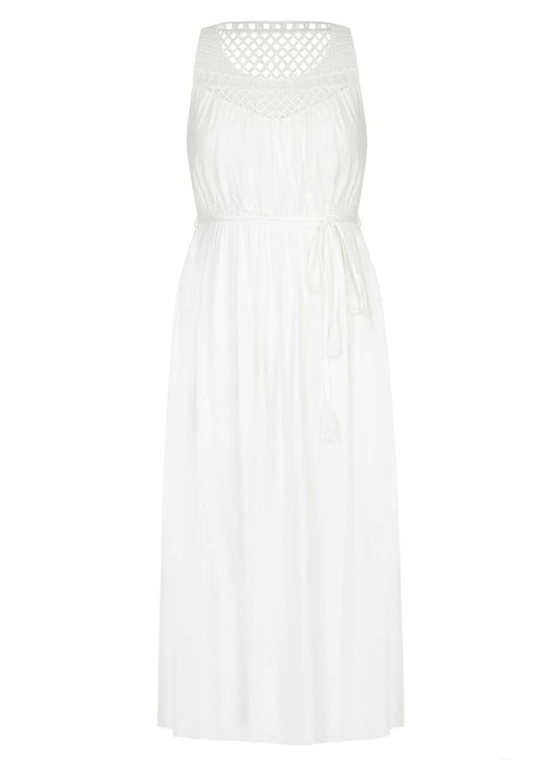 City Chic Ivory Crochet Detail Maxi Dress