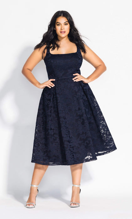 City Chic Jackie O Dress - Navy 14 / XS