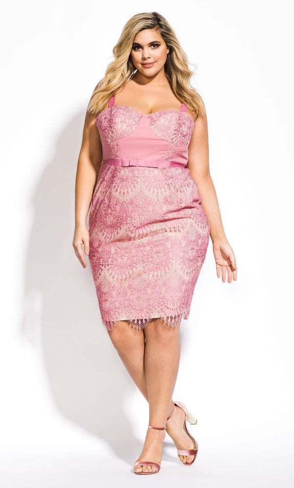 City Chic Jolie Lace Dress - Musk 14 / XS