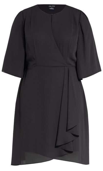 City Chic Jolie Wrap Dress - black