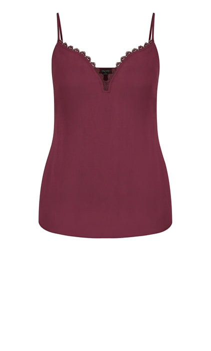 City Chic Lace Love Cami - plum