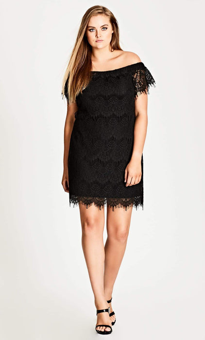 City Chic Lace Off-Shoulder Shift Dress - Black