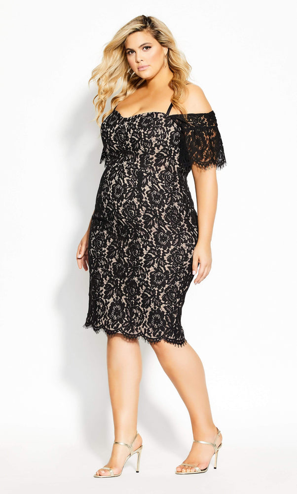 City Chic Lace Whisper Dress - black
