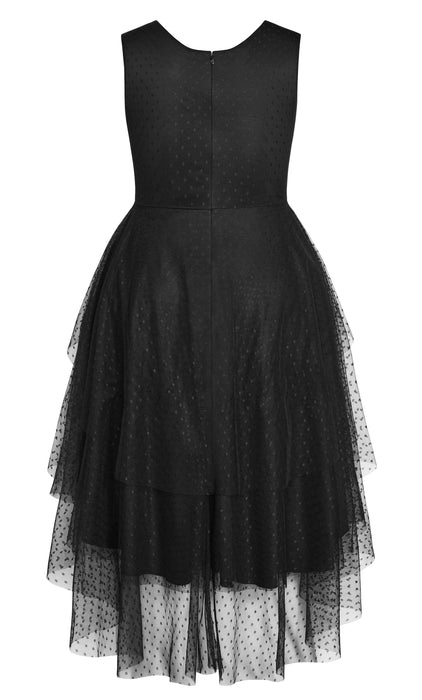 City Chic Mesh Bardot Dress - black