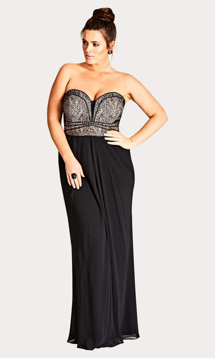 City Chic Motown Draped Black Chiffon Maxi Dress