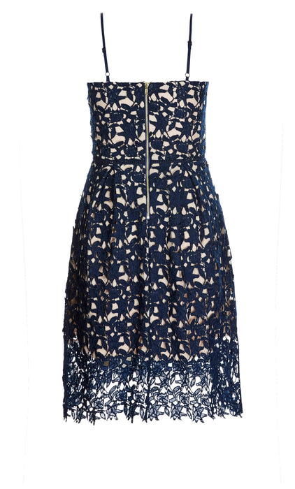 City Chic Navy So Fancy Crochet Fit & Flare Dress