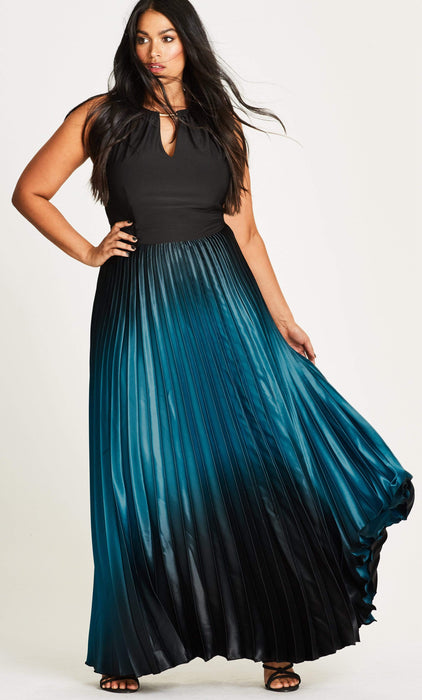 City Chic Pleated Ombre Halter Neck Maxi Dress 14 / XS