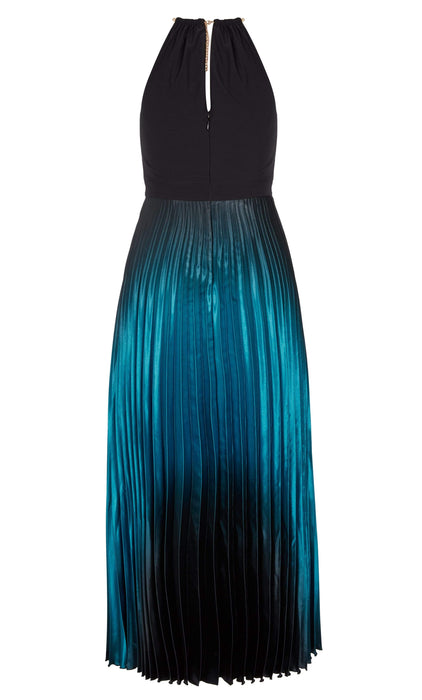 City Chic Pleated Ombre Halter Neck Maxi Dress