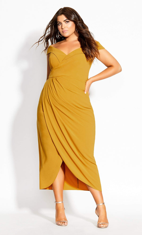City Chic Rippled Love Dress - gold