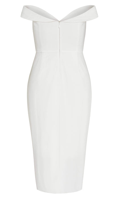 City Chic Rippled Love Dress - ivory