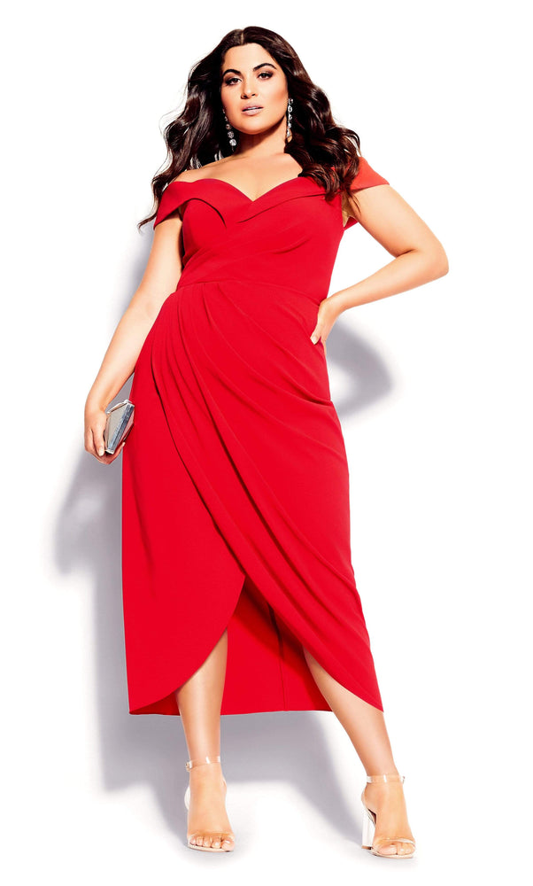 City Chic Rippled Love Dress - red