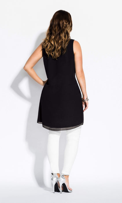 City Chic Sevil Hi Lo Top - black