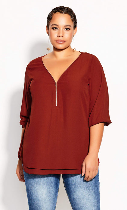 City Chic Sexy Fling Elbow Sleeve Top - Henna
