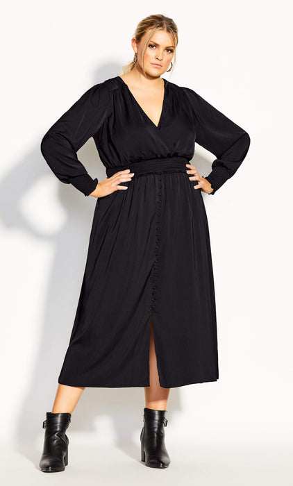 City Chic Shirred Satin Dress - black