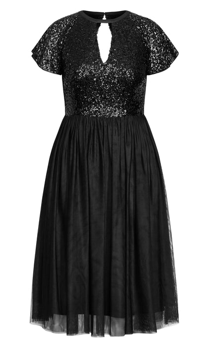 City Chic Sparkle Joy Dress - onyx
