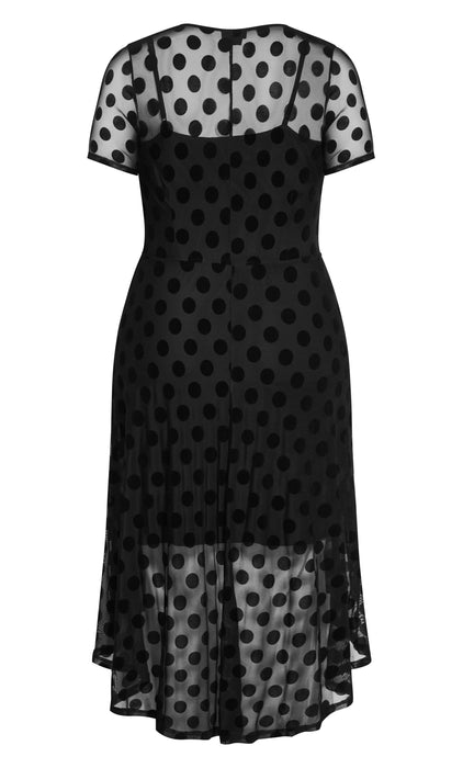 CITY CHIC Spot Flock Dress - black