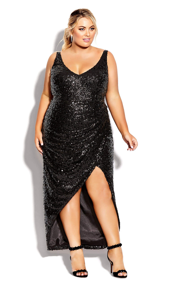 City Chic Star Desire Maxi Dress - onyx