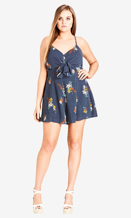 City Chic Strappy Floral Playsuit - black