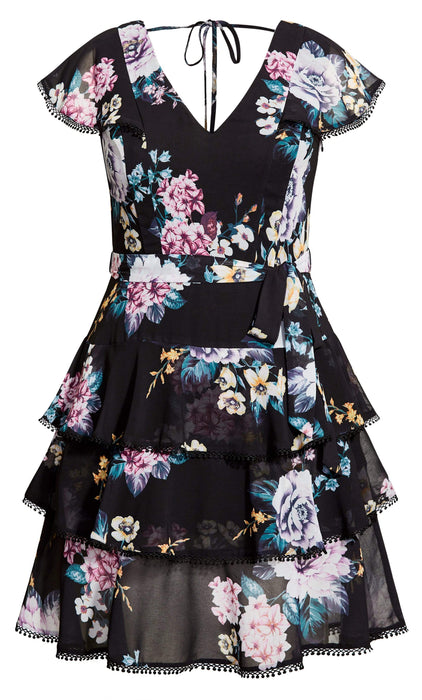 City Chic Summer Blooms Dress - black